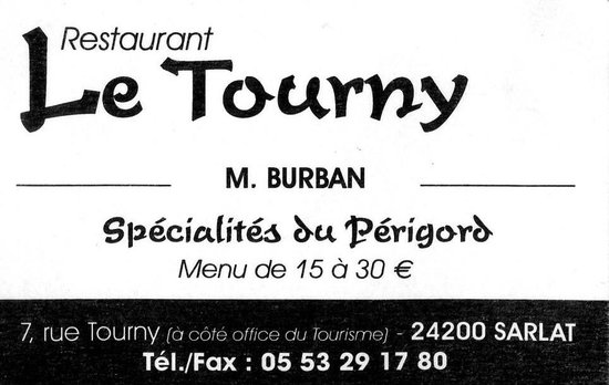 Restaurant Le Tourny : carte du Tourny