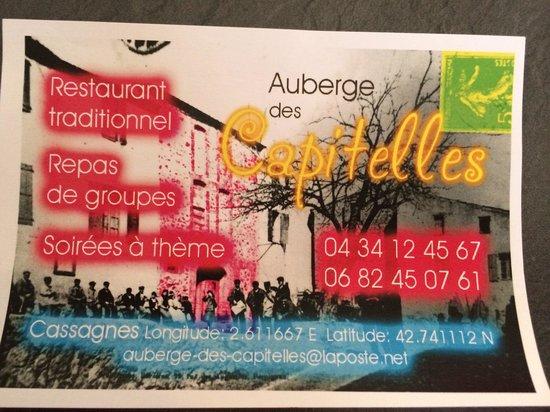 Auberge Des Capitelles Carte De Visite