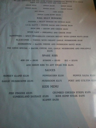 The King William IV Pub: King Billy Menu, May 2014