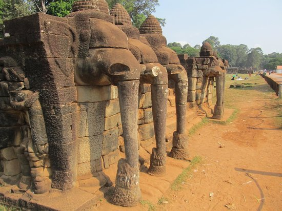 Terrace of the Elephants: Three either side of a staircase