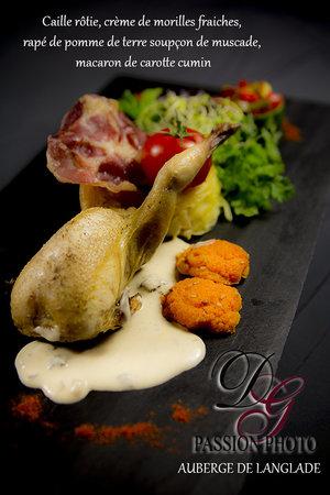 Auberge de Langlade : caille crémeux de foie gras