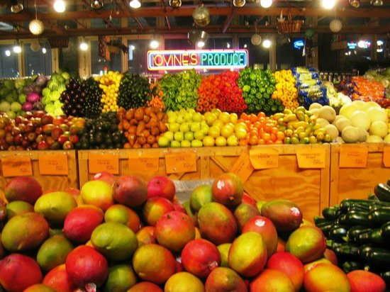 Reading Terminal Market: fresh produce displayed as if in a museum