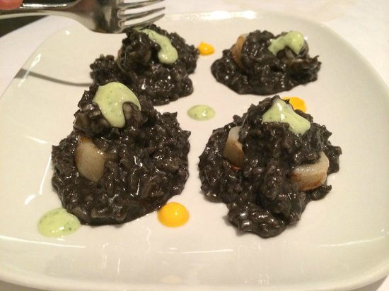 Maito: Squid ink risotto, with calamari and prawns - SOOOO good