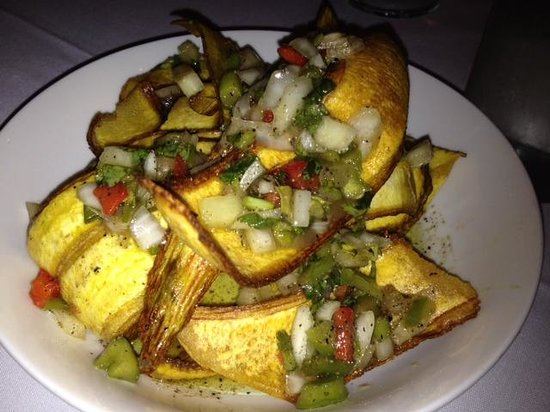 Mario's Catalina Restaurant : Mario's fried plantains with a chimichurri sauce
