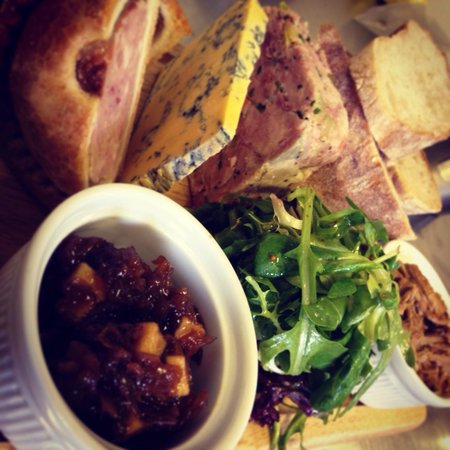 Town street tavern sharing platter for 2! Pulled pork, ham hock terrine, Harrogate blue cheese,