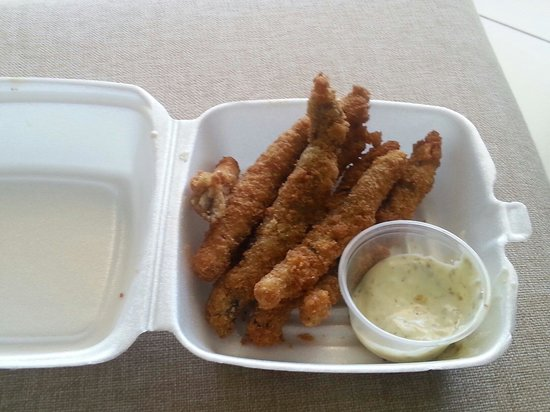 Infinity on the Beach: Flying fish fingers from the Seafans restaurant