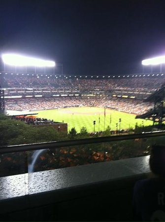 Hilton Baltimore: view of the Orioles game from the deck off the fitness room