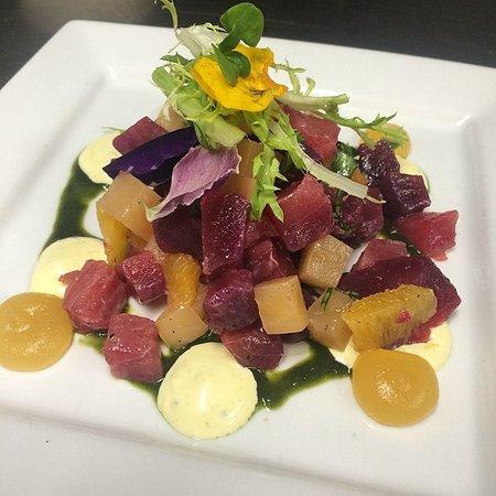 Fathom : Beet cured yellowfin tuna