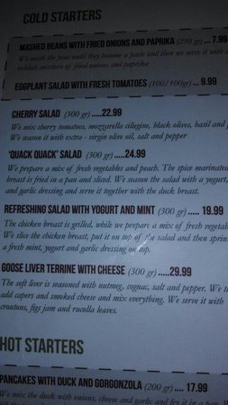 "Casa Bunicii - Balcescu: Interesting menu- ""Quack Quack"" salad was very good."