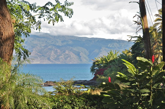 Maui Beach Ocean View Rentals: Bamboo Suite bedroom view overlooking Molokai and whale watching
