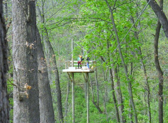 Sky Tours at YMCA Union Park Camp: A standing platform we zipped to and from.
