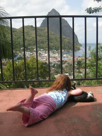 Uptown Guest House: Our daughter playing with owner's cat on the veranda