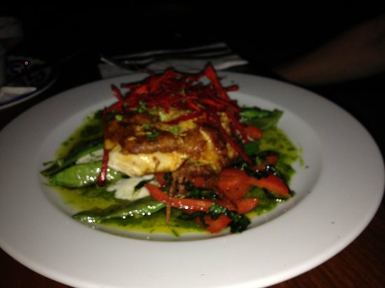 Buccanos at Night: Parmesan and chorizo crusted baked chicken breast with truffle poblano cream
