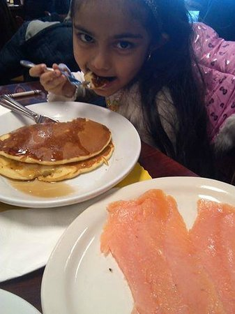 Hogan's Diner : Our little Bella trying Lox for the 1st time :) Brava Principessa