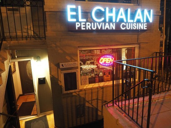 El Chalan Restaurant: Below street-level entrance