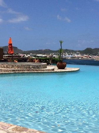 Palms Court Gardens & Restaurant: Infinity pool overlooking that harbor