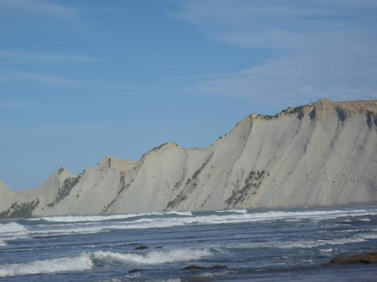 Gannet Beach Adventures: View of the cliffs, the Gannet colony is at the top of the most distant one