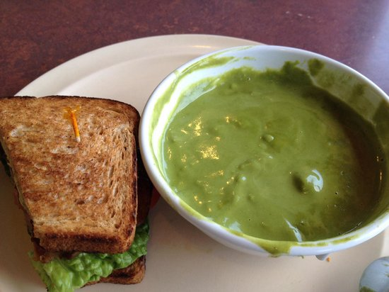 Half Moon Bay Coffee Co: 1/2 BLT & avocado and cream of asparagus soup