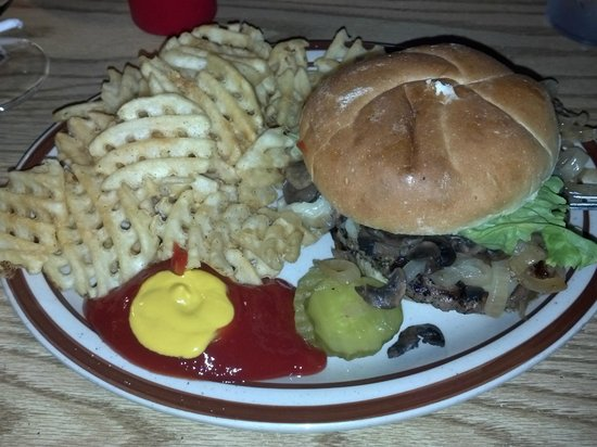 Hilltop Pub and Grill: Hilltop Pub & Grill - Mushroom Swiss Burger - Steven's Point WI