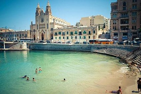 Le Merin St Julians Beach And Church Near Meridean Hotel Malta