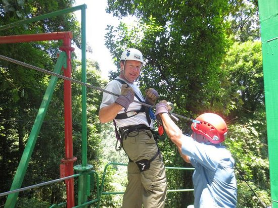 Sky Adventures - Monteverde Park: Andy ziplining -- best zip line yet
