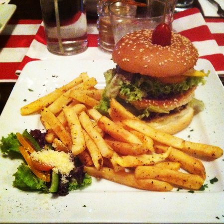 Gala House: Fisherman's burger: the fries were great; burger alright. overall a lovely dish that fills you u