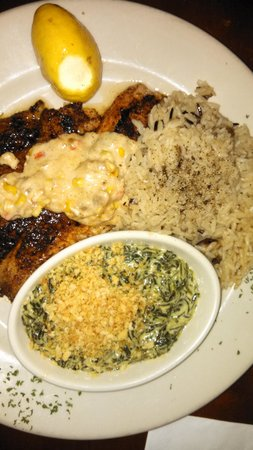 Bullfish Grill: Tilapia Orleans, wild rice pilaf, creamed spinach