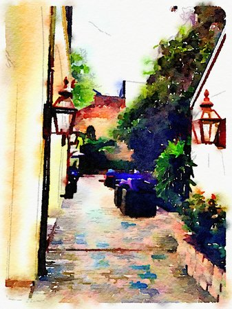 Hotel Le Marais: Courtyard using Waterlogue app