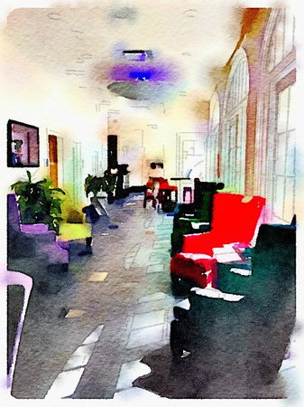 Hotel Le Marais: bar/breakfast area using Waterlogue app