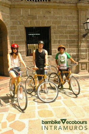 Bambike Ecotours Intramuros: Getting ready to roll in Plaza San Luis Complex