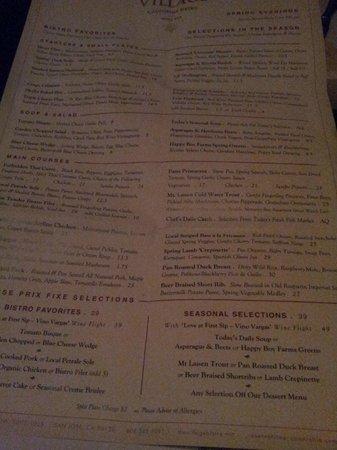 Village California Bistro and Wine Bar: Menu