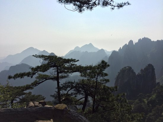 Mt. Huangshan (Yellow Mountain): Able to see the mountain ridges, also on the clear day.