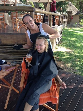 Naledi Game Lodges: Bride getting her hair done on the deck.