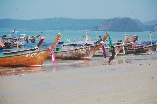 PhraNang Cave Beach : Long tails on the Beach
