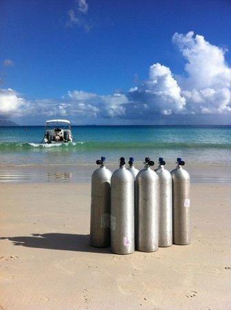 Dive Seychelles Underwater Center: Beau Vallon Beach. Dive centre boat.