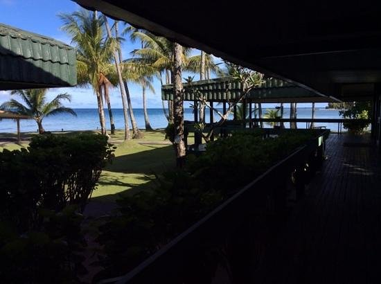 Truk Blue Lagoon Resort: looking out from the lobby and restaurant