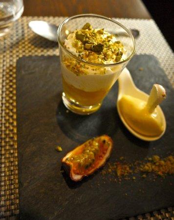 Cafe de la reunion : Pistachio & passionfruit mousse..... light as a feather & such fresh flavors