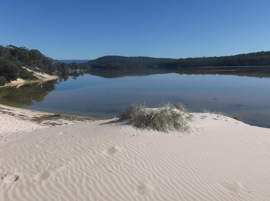 Lake Conjola Entrance Holiday Park: view of the lake from the sand dunes on beach.