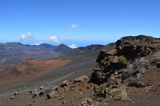 Hiking into the Haleakala Crater on a beautiful clear morning