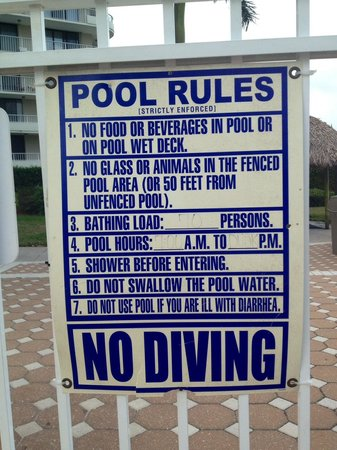 South Seas Towers Condominiums: Pool rules :)