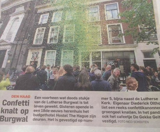 the big opening of hostel The Hague in newspaper