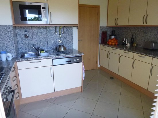 Encosta da Orada: The kitchen, very modern. Liked the built in microwave.
