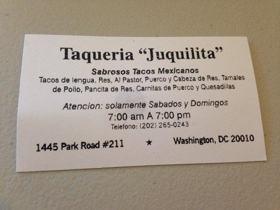 Business card picture of taqueria juquilita washington dc taqueria juquilita business card reheart Gallery