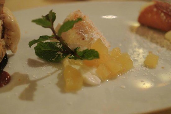 Applewood Inn: Coconut Milk Panna Cotta with slow-cooked Pineapple and Vanilla Syrup...