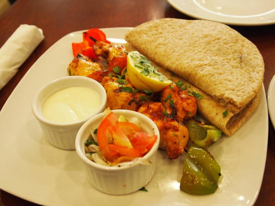 Cyma: chicken souvlaki