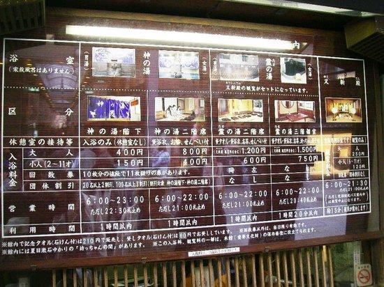 Dogo Onsen Honkan : 入浴料金表
