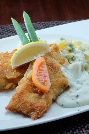 German Haus: Fish filet serve with home mad potato salad