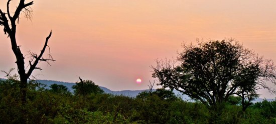 Thakadu River Camp: Sun set in the game reserve