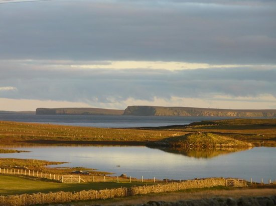 Close up of the view from Papa Westray Hostel