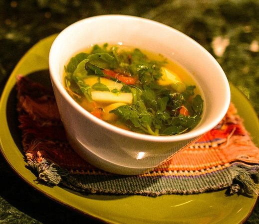Kaalpul Atitlan Eco Hotel & Spa: Bowl of fresh organic vegetable soup with lunch